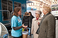 Sam Innocent of Diabetes UK gives out information to Thelma Church of Gedling and Sheila Ibbett of Carlton