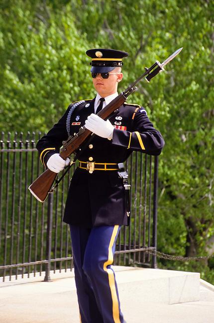 Guard with bajonet riffle in Arlington cemetery in Washington DC, USA