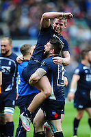 LA(H) Ben Priddey of the Royal Navy celebrates with team-mate MNE Jarrard Hayler after the match. Babcock Inter-Services Championship match between the British Army and the Royal Navy on April 30, 2016 at Twickenham Stadium in London, England. Photo by: Patrick Khachfe / Onside Images