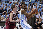 06 November 2015: North Carolina's Kenny Williams (right) and Guilford's Jarrod Rogers (left). The University of North Carolina Tar Heels hosted the Guilford College Quakers at the Dean E. Smith Center in Chapel Hill, North Carolina in a 2015-16 NCAA Men's Basketball Exhibition game. UNC won the game 99-49.