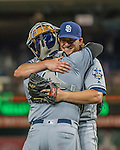22 July 2016: San Diego Padres pitcher Brandon Maurer celebrates closing out the game against the Washington Nationals at Nationals Park in Washington, DC. The Padres defeated the Nationals 5-3 to take the first game of their 3-game, weekend series. Mandatory Credit: Ed Wolfstein Photo *** RAW (NEF) Image File Available ***