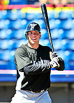 8 March 2010: Florida Marlins' infielder Logan Morrison awaits his turn in the batting cage prior to a Spring Training game against the Washington Nationals at Space Coast Stadium in Viera, Florida. The Marlins defeated the Nationals 12-2 in Grapefruit League action. Mandatory Credit: Ed Wolfstein Photo
