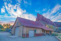 Ranch barn and Sundial Peak  Nature Conservancy Dugout Ranch, Utah  Indian Creek