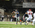 Ole Miss quarterback Jeremiah Masoli (8) throws a touchdown pass to Ole Miss wide receiver Melvin Harris (5) at Vaught-Hemingway Stadium in Oxford, Miss. on Saturday, September 25, 2010. Ole Miss won 55-38.