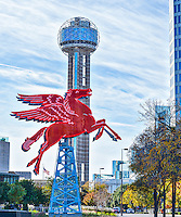 These two iconic landmark features of Dallas the Reunion Tower and the flying red Pegasus on top of a oil derick which had been on the Magnolia Hotel for more than half of a century. I t was damage and was taken down and now stand in front of the Omni Hotel in downtown Dallas.
