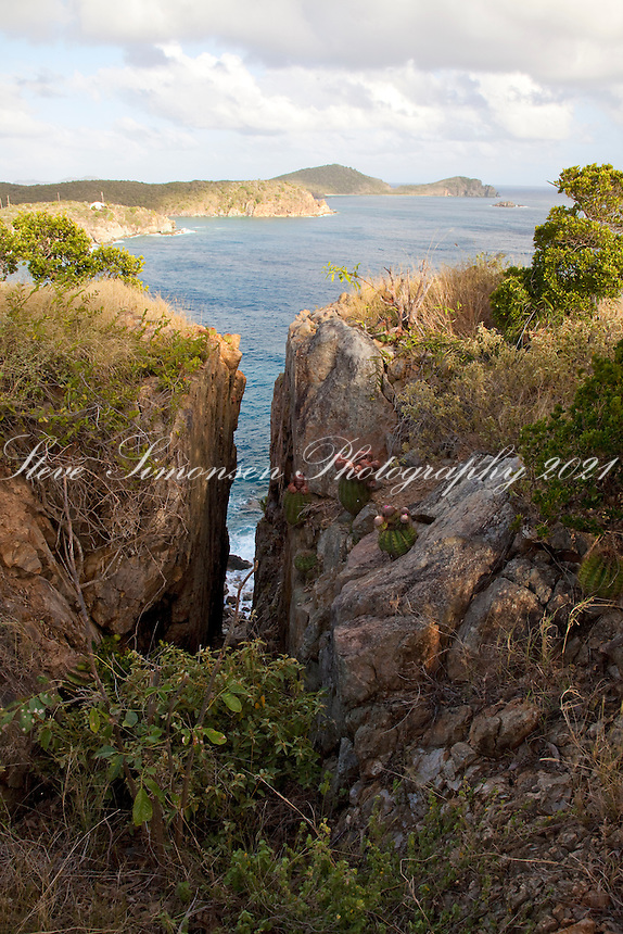 Scenic view and rocky cliffs along the.Tektite trail near Lameshur Bay.<br /> St John<br /> U.S. Virgin Islands