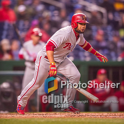 28 April 2016: Philadelphia Phillies second baseman Andres Blanco at bat against the Washington Nationals at Nationals Park in Washington, DC. The Phillies shut out the Nationals 3-0 to sweep their mid-week, 3-game series. Mandatory Credit: Ed Wolfstein Photo *** RAW (NEF) Image File Available ***