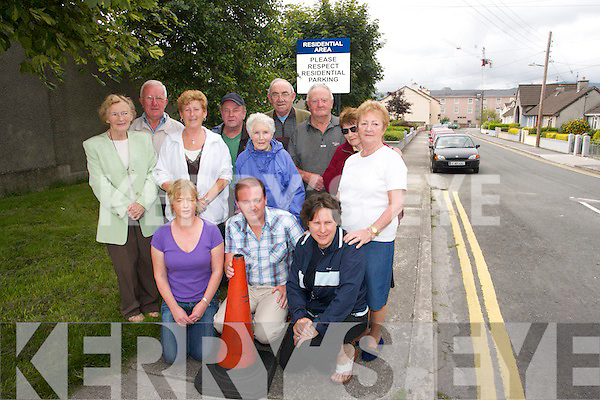 KEEP OUT: Residents of.St. Johns Park, Tralee are.pleading for an end to.parking problems. From.front l-r were: Kay Heaslip,.Teddy Foley and Rose.Heaslip. Back l-r were:.Betty Corkery, Dominic.OBrien, Margaret Foley,.Joan Hanafin, Michael.OBrien, Joe Flaherty, Mike.Shanahan, Pat Anderson.and Margaret Mulcahy.