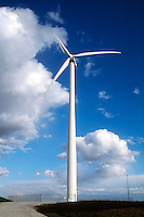 WINDMILL<br /> Wind Turbine Creates Renewable Energy<br /> From eolian power.<br /> The tower is 213 ft high.  The 77 ft long blade spins at 28.5 rpm with a capacity of 660 kilowatts. Nebraska.