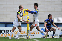 Jonathan Evans of Bath Rugby celebrates with team-mate Adam Hastings after scoring a try in the second half. Aviva Premiership match, between Worcester Warriors and Bath Rugby on February 13, 2016 at Sixways Stadium in Worcester, England. Photo by: Patrick Khachfe / Onside Images