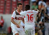 Fussball Europa League Play Offs:  Saison   2012/2013     VfB Stuttgart - Dynamo Moskau  22.08.2012 Jubel nach dem Tor  Vedad Ibisevic mit Ibrahima Traore  (v. li., VfB Stuttgart)