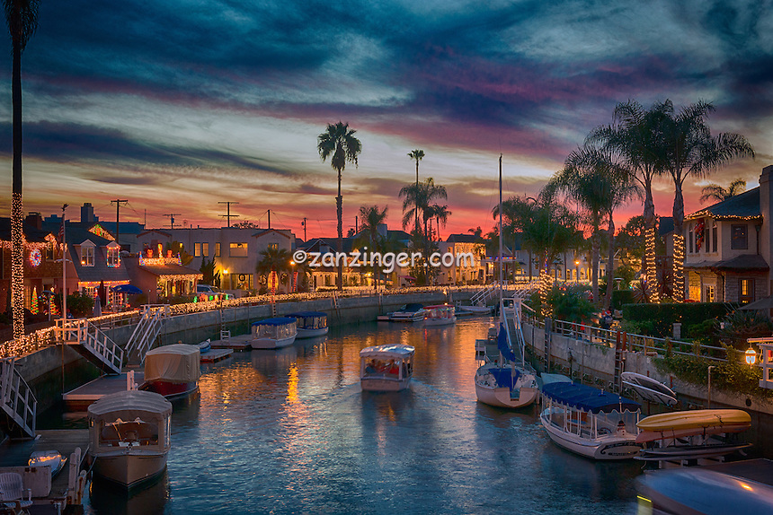 Naples Canals; Alamitos Bay, islands, Belmont Shore; Long Beach; CA; Luxury; Houses; Lit; Christmas Lights, Xmas