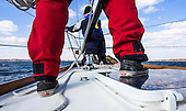 Stiv Wilson of 5 Gyres which is renowned for research on plastic pollution in the ocean's gyres and Captain Chris Charbonneau prep the rigging they will use to trawl the Chesapeake Bay for polution including micro plastics. <br /> <br /> PHOTOS/John Nelson