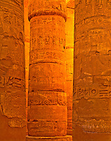 Sandstone Columns in the Great Hypostyle Hall of Karnak Temple, Ancient Egyptian city of Thebes, Luxor, Egypt