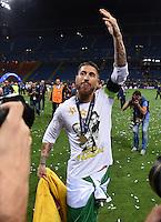 FUSSBALL  CHAMPIONS LEAGUE  FINALE  SAISON 2015/2016   Real Madrid - Atletico Madrid                   28.05.2016 Sergio Ramos (Real Madrid)  jubelt