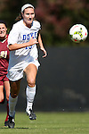 26 October 2014: Duke's Kara Wilson. The Duke University Blue Devils hosted the Boston College University Eagles at Koskinen Stadium in Durham, North Carolina in a 2014 NCAA Division I Women's Soccer match. Duke won the game 2-1 in overtime.