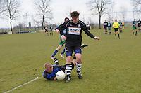 VOETBAL: ALDEBOARN:  14-04-2013, Eredivisie 2012-2013, Oldeboorn - Aengwirden, degradatiewedstrijd 4e klasse A, Eindstand 2-3, Meindert Hiemstra Aengwirden (#1), Klaas Hartmans Oldeboorn (#14)  ©foto Martin de Jong