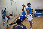The Indian Kabbadi team trains at a month long camp in Sport Authority of India Sports Complex in Bisankhedi, outskirts of Bhopal, Madhya Pradesh, India.