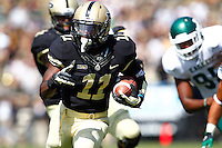 WEST LAFAYETTE, IN - SEPTEMBER 15:  Running back Akeem Hunt #11 of the Purdue Boilermakers runs the ball to score a touchdown against the Eastern Michigan Eagles at Ross-Ade Stadium on September 15, 2012 in West Lafayette, Indiana. (Photo by Michael Hickey/Getty Images)***Local Caption***Akeem Hunt