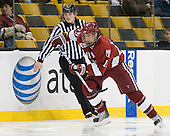 Alex Killorn (Harvard - 19) - The Northeastern University Huskies defeated the Harvard University Crimson 4-0 in their Beanpot opener on Monday, February 7, 2011, at TD Garden in Boston, Massachusetts.