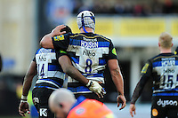 Leroy Houston of Bath Rugby celebrates his bonus-point try with team-mate Semesa Rokoduguni. Aviva Premiership match, between Bath Rugby and London Irish on March 5, 2016 at the Recreation Ground in Bath, England. Photo by: Patrick Khachfe / Onside Images