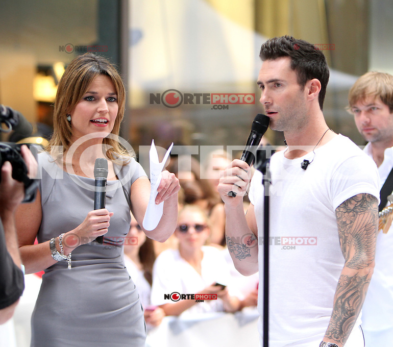 June 29, 2012 Savannah Guthrie interviews Adam Levine of Maroon 5 after their performance on NBC's Today Show Toyota Concert Series in New York City. Guthrie begins her first day as host replacing the ousted Ann Curry. &copy; RW/MediaPunch Inc. *NORTEPHOTO.COM*<br />