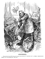 """Cornered. Kaiser (having read Mr Gerard's German reminiscences). """"I never saw a more abominable tissue of deliberate truths."""" (Wilhelm II trashes his living room including a picture of Potsdam after having read the Daily Telegraph newspaper, while his dog howls during WW1)"""