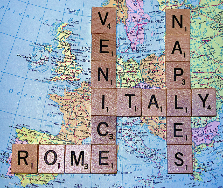 Italy Map With Scrabble Letters