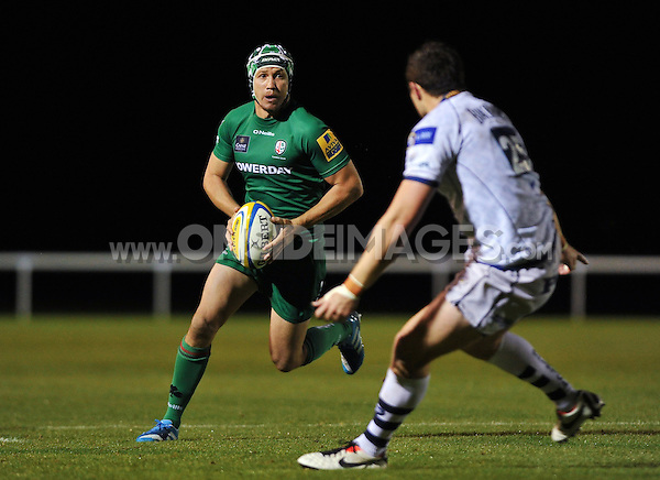 Myles Dorrian in possession. Pre-season friendly match, between London Irish and Bristol Rugby on August 22, 2014 at Hazelwood in Middlesex, England. Photo by: Patrick Khachfe / JMP
