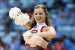 21 March 2015: Ohio State cheerleader. The Ohio State University Buckeyes played the James Madison University Dukes at Carmichael Arena in Chapel Hill, North Carolina in a 2014-15 NCAA Division I Women's Basketball Tournament first round game.