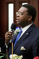 TALLAHASSEE, FLA. 3/4/14-House Democratic Leader Rep. Perry Thurston, D-Fort Lauderdale, speaks during the opening day of the legislative session, March 4, 2014 at the Capitol in Tallahassee.<br /> <br /> COLIN HACKLEY PHOTO