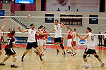 29 APR 2012:  Springfield College celebrates their victory over Carthage College during the Division III Men's Volleyball Championship held at Blake Arena in Springfield, MA.  Springfield defeated Carthage 3-0 to win the national title.  Jessica Rinaldi/NCAA Photos