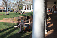 Students enjoy time on the lawn at the University of Virginia in Charlottesville, VA. Photo/Andrew Shurtleff