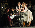 London, UK. 27.10.2014. Jonathan Miller's production, for English National Opera, of LA BOHEME, by Giacomo Puccini, opens at the London Coliseum. Rising star soprano, Angel Blue, makes her role debut as Mimi. Picture shows: Jennifer Holloway (Musetta) and Andrew Shore (Alcindoro). Photograph © Jane Hobson.