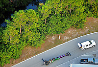 Jan. 21, 2012; Jupiter, FL, USA: Aerial view of the car of NHRA top fuel dragster driver Hillary Will being towed during testing at the PRO Winter Warmup at Palm Beach International Raceway. Mandatory Credit: Mark J. Rebilas-