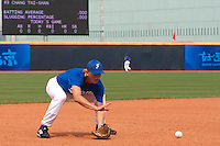 17 August 2007: Luc Piquet practices during the Good Luck Beijing International baseball tournament (olympic test event) at the Wukesong Baseball Field in Beijing, China.