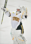 9 October 2009: University of Vermont Catamount goaltender Kristen Olychuck, a Senior from Kelowna, British Columbia, celebrates a win against the Union Dutchwomen at Gutterson Fieldhouse in Burlington, Vermont. Olychuck recorded a shutout as the Catamounts defeated the visiting Dutchwomen 2-0 to start off the Cats' 2009 season. Mandatory Credit: Ed Wolfstein Photo