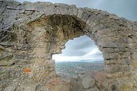 Arch framing Lezhe,  Lezhe Castle, Albania  From 1400's, Adriatic Sea