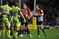 Chris Robshaw of Harlequins rallies his team-mates at a scrum. Aviva Premiership match, between Harlequins and Sale Sharks on November 6, 2015 at the Twickenham Stoop in London, England. Photo by: Patrick Khachfe / Onside Images