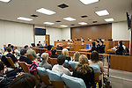 Photo shows the inside of court room 416 at the Tokyo District Court where the trial of American Richard Hinds, who is standing trial for the  murder of  Nicola Furlong, is taking place in Tokyo, Japan on 13 March 2013. On the right of the picture can be the prosecution bench, where Nicola's mother Angela and father Andrew can be seen waiting for the commencement of the  eighth day of the trial, during which defense and prosecuting lawyers gave their closing arguments. Photographer: Robert Gilhooly