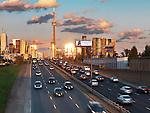 Sunset scenery of downtown Toronto and Gardiner Expressway. Ontario, Canada.