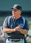 21 July 2016: Hudson Valley Renegades Manager Tim Parenton chats during batting practice prior to a game against the Vermont Lake Monsters at Centennial Field in Burlington, Vermont. The Lake Monsters edged out the Renegades 4-3 in NY Penn League play. Mandatory Credit: Ed Wolfstein Photo *** RAW (NEF) Image File Available ***