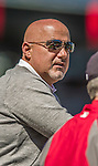 6 April 2014: Washington Nationals General Manager Mike Rizzo watches batting practice prior to a game against the Atlanta Braves at Nationals Park in Washington, DC. The Nationals defeated the Braves 2-1 to salvage the last game of their 3-game series. Mandatory Credit: Ed Wolfstein Photo *** RAW (NEF) Image File Available ***