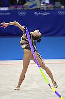 Oct 01, 2000; SYDNEY, AUSTRALIA:<br /> Yulia Raskina (BLR) performs ribbon during rhythmic gymnastics final at 2000 Summer Olympics. Yulia took silver medal.