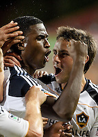Edson Buddle (L) of the Los Angeles Galaxy celebrates his goal with Todd Dunivant, (R) also of the Galaxy, during the regular season game between the Los Angeles Galaxy and the Houston Dynamo at Robertson Stadium in Houston, TX on April 10, 2010. Los Angeles 2, Houston 0.