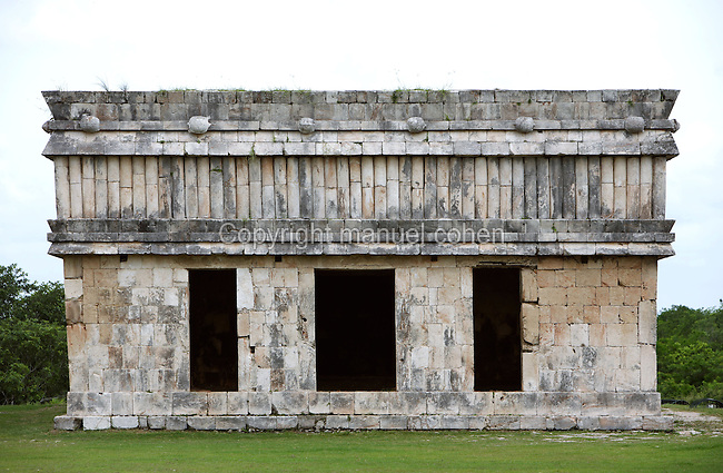 The Turtle House with a frieze in the form of bamboo and six turtles sculpted on the cornice, Puuc architecture, Uxmal late classical Mayan site, flourished between 600-900 AD, Yucatan, Mexico. Picture by Manuel Cohen