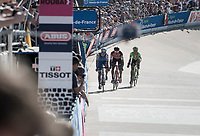 Zdenek Stybar (CZE/Quick Step Floors) pacing for a victory sprint against Greg Van Avermaet (BEL/BMC) &amp; Sebastian Langeveld (NED/Cannondale-Drapac) with 1 lap to go in the legendary Roubaix velodrome<br /> <br /> 115th Paris-Roubaix 2017 (1.UWT)<br /> One Day Race: Compi&egrave;gne &rsaquo; Roubaix (257km)