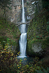 Water from Larch Mountain in Oregon flows over the gorge walls to form Multnomah Falls