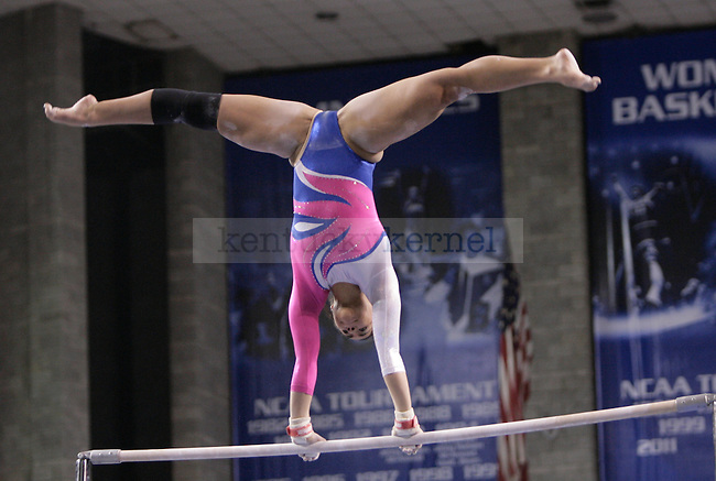 UK senior Whitney Rose performs on the uneven bars during the gymnastics meet between Kentucky, Auburn, and Pittsburgh on 2/24/12 at Memorial Coliseum in Lexington, Ky. Photo by Quianna Lige | Staff