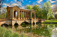 The Palladian Bridge, 1774 , designed by James Gibbs over the lake  in the English landscape gardens of Stowe, designed by Capability Brown. Buckingham, England